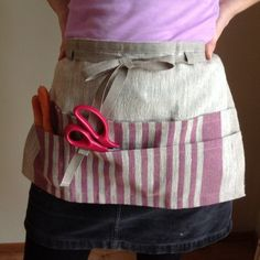linen utility apron / gardening apron / half apron by BicoEstonia Half Apron Patterns, Apron Pattern Free, Lino Natural, Natural Linen, Couture, Waitress Apron, Teacher Apron, Gardening Apron, Sewing Aprons