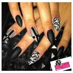Black and gray Maze/ cross stiletto nails