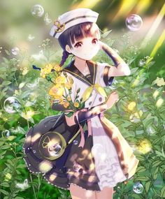 Anime picture with original irure long hair single tall image looking at viewer black hair smile fringe black eyes braid (braids) bubble (bubbles) arm behind head girl uniform flower (flowers) ribbon (ribbons) hat detached sleeves seifuku Anime Girl Cute, Beautiful Anime Girl, Kawaii Anime Girl, Anime Art Girl, Anime Girls, Anime Neko, Manga Anime, Loli Kawaii, Kawaii Art