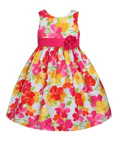 Take+a+look+at+the+Blue+&+Yellow+Floral+Rosette+Dress+-+Toddler+&+Girls+on+#zulily+today!
