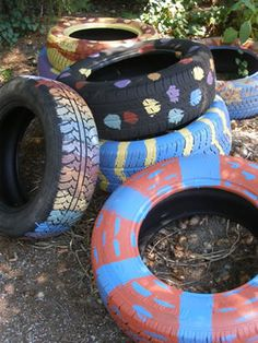 Get crafty! Gotta find me some tires and paint them up with the kids and then we can plant flowers next summer for the back yard!