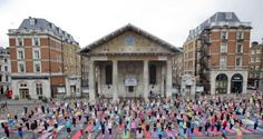 Yoga flash mobs in Covent Garden piazza.