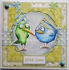 Handmade card using Tim Holtz Crazy Birds stamps coloured with Polychromos pencils.