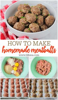 This Homemade Meatball recipe is way better than store bought and easy too - they take minutes to put together! meatballs Easy Meatball Recipe - Step by Step (+VIDEO) Recipe Steps, Brenda, Easy Meals, Cooking Recipes, Dog Food Recipes, Lunch Recipes, Favorite Recipes, Food And Drink, Garlic Powder