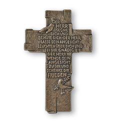 Taufgeschenke Kreuz -Der Herr segne Dich- 15,5 cm Bronze Wandkreuz 001