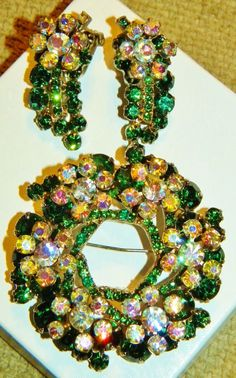 Vintage Juliana D Green Rhinestone Flower Spray Wreath Brooch, Earrings Set
