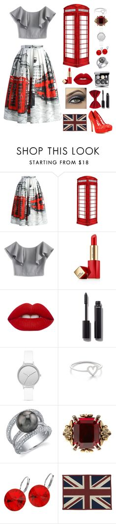 """""""London Telephone Booth"""" by acadia697 ❤ liked on Polyvore featuring Chicwish, jcp, Estée Lauder, Lime Crime, Chanel, Skagen, Aurélie Bidermann, Alexander McQueen, L. Erickson and Park B. Smith"""