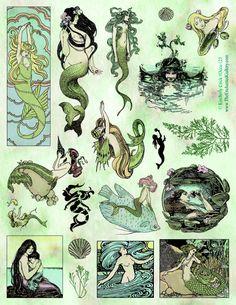 Mermaid rubber stamps siren lady of the lake Art Nouveau bookmark vintage book fairytale illustrations<br> Art Inspo, Kunst Inspo, Fantasy Kunst, Fantasy Art, Art And Illustration, Mermaid Illustration, Book Illustrations, Mermaid Art, Tattoo Mermaid
