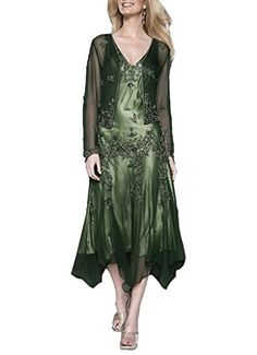 e42e3416901 Emmani Womens Chiffon Applique Mother Dressses with Jacket Green 6     Find  out more