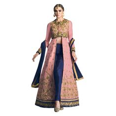Buy Pink Semi Stitched Net Anarkali Salwar Suit Online at cheap
