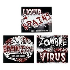 Zombie Bottle Labels from www.DiscountPartySupplies.com