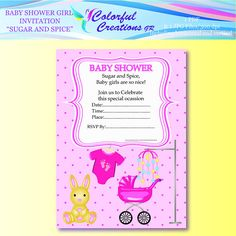 """SALE Baby Shower Girl Invitation """"Sugar And Spice"""", Rabbit, Baby's Buggy, Baby Girl Digital Shower Crafts, Personal & Commercial Use Baby Shower Invites For Girl, Baby Shower Invitations, Second Baby Showers, Shower Set, Sugar And Spice, Digital Stamps, Little Princess, Baby Toys, Onesies"""