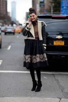 Giovanna Battaglia during New York Fashion Week, Fall 2013