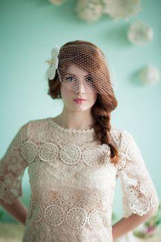 birdcage veil // photo by Studio Finch // View more: http://ruffledblog.com/crochet-and-aqua-inspiration/