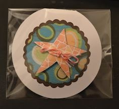 Round card using CTMH Footloose Paper and Baker's twine