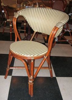 """French Bistro Arm Chair, Dimensions: 32 """" high to back, seat depth 24 seat width & seat height 17 Weave: Vertical Cream & Horizontal Bronze, Bindings Bronze, WOOD FINISH: Dark Honey Patio Dining, Patio Chairs, French Bistro Chairs, Cedar Lumber, Fire Pit Table, Chair Design, Diy Furniture, Honey, Internet"""