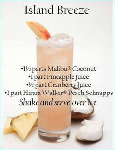 Island Breeze ~ Malibu Rum, Peach Schnapps, Pineapple Juice, & Cranberry Juice by # Food and Drink ideas cranberry juice Island Breeze Liquor Drinks, Cocktail Drinks, Malibu Rum Drinks, Coconut Rum Drinks, Malibu Coconut, Malibu Sunset Cocktail Recipe, Tropical Alcoholic Drinks, Alcoholic Shots, Alcholic Drinks