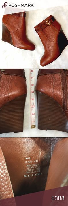 "NWT Tory Burch Elina Cognac Bootie These lightly pebbled and studded booties are a must-have! Inner zipper, wedge heel, gold tone ""T"" detail. No flaws, never worn, ship in Tory Burch box. Tory Burch Shoes Ankle Boots & Booties"