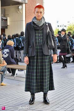 Japanese street fashion in Shibuya, Tokyo. I'm actually not entirely opposed to men wearing things like this, as long as it's styled properly