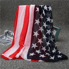 [Jinjin.QC] fashion viscose scarf winter women American Flag print Scarves and Wraps US Popular echarpe foulard femme bandana