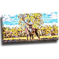 Design Art Deer in the Woods, Art on Canvas, 32 inch x 16 inch, Size: Medium 25 inch-32 inch, Multicolor