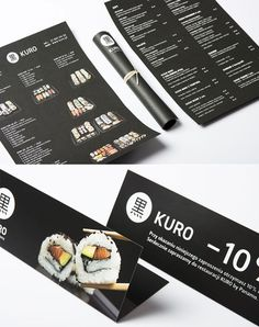 25 Inspiring Restaurant Menu Designs - KURO by Panamo via artentiko Menue Design, Food Menu Design, Restaurant Identity, Restaurant Menu Design, Japanese Menu, Menu Layout, Menu Book, Food Photography Props, Sushi Restaurants