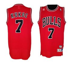 Bulls #7 Tony Kukoc Red Throwback Embroidered NBA Jersey! Only $20.50USD