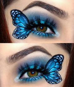 Butterfly costume e. Hd Carnival-Schmetterlingskostüm z. Karneval Butterfly costume e. Makeup Eye Looks, Eye Makeup Art, Crazy Makeup, Cute Makeup, Eyeshadow Makeup, Fairy Makeup, Mermaid Makeup, Hd Makeup, Prom Makeup