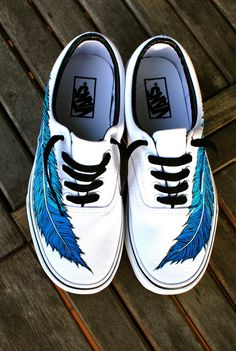 Hand Painted Eagle Feather on White Vans Era Shoe