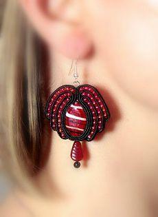 Soutache earrings- remids me of pomegrante Soutache Earrings, Macrame Earrings, Ruby Earrings, Red Jewelry, Beaded Jewelry, Jewelery, Handmade Jewelry, Statement Jewelry, Beaded Embroidery