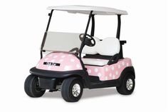 A polka dotted golf cart! How cute is that? I think you need one for Christmas!!