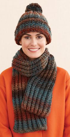 Rustic Ribbed Hat and Scarf | Knitting | Easy