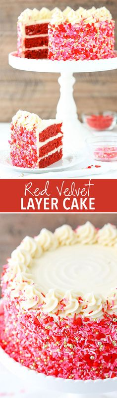 Red Velvet Layer Cake with Cream Cheese Frosting! Covered in sprinkles and perfect for Valentine's Day!