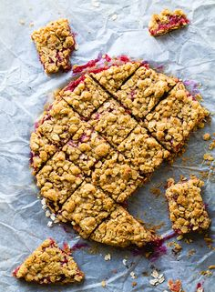 Raspberry Rhubarb Crumble Bars: gluten-free, vegan