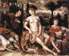 David and Bathsheba 1562 by  MASSYS, Jan. Oil on wood  Flemish painter (b. ca. 1510)  Louvre
