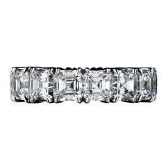 Asscher Cut Diamond Eternity Band $82500 This stunning platinum eternity band is over 10 carats in total diamond weight and exhibits the height of memorable form and craftsmanship.