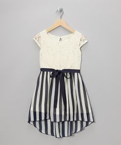 Take a look at this Ivory Stripe Lace Hi-Low Dress by Monteau Girl on #zulily today!