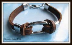 Leather Bracelet high quality cowhide metal by BraceletStreetUSA, $8.95