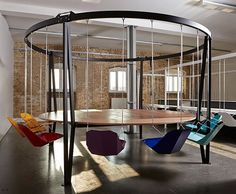 Can't stop people from falling asleep at meetings or dinner parties? Duffy London's brilliant King Arthur Swing Table will keep things swinging beautifully.Duffy London's King Arthur Swing Table keeps folks from being Excali-bored Swing Table, Hanging Swing Chair, Swinging Chair, Hanging Chairs, Swing Chairs, Beach Chairs, Hanging Table, Hammock Chair, High Chairs