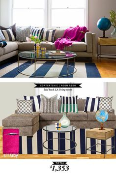 A laid back LA-style living room for $1354 A Copy Cat Chic Room Redo by @lindseyboyer