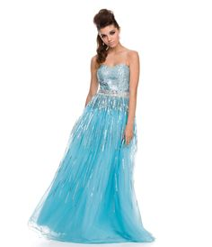 Aqua Sequin & Tulle Strapless Gown