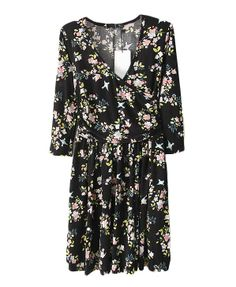 V Neckline Floral Printed Dress