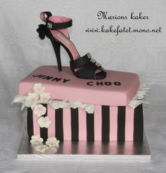 Shoes box cake. shooes made from marzipan