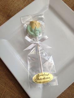 Vanilla, white chocolate Yellow Rose lollipop...Flower Birthday Party, Wedding, Bridal Shower Favors www.rosebudchocolates.com