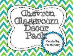 Chevron Classroom Decor Pack