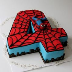 Spiderman Birthday Cake Images, Pictures Ideas For Celebration: Beautiful and best Happy Birthday Spiderman cake bday pics, photos for cutting celebration are Spiderman Birthday Cake, 4th Birthday Cakes, Superhero Cake, Fourth Birthday, Superhero Birthday Party, 4th Birthday Parties, Birthday Fun, Spiderman 4, Spider Man Birthday