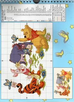 Winnie The Pooh and Friends ~ Saved from gallery. Disney Cross Stitch Patterns, Counted Cross Stitch Patterns, Cross Stitch Designs, Cross Stitch Embroidery, Cross Stitch Love, Cross Stitch Needles, Winnie The Pooh, Crochet Baby Mobiles, Modele Pixel Art