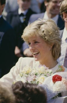 August 1, 1987: Diana, Princess of Wales (1961 - 1997) during a visit to Liverpool, August 1987. She is wearing a dress by Victor Edelstein. | Credit: Princess Diana Archive