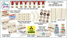 Apocalypse Survivor Package Printable DIY with Banner and Favors for the Walking Dead. $25.00, via Etsy.