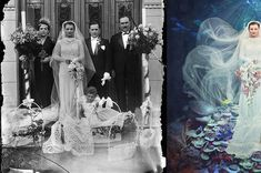 Neptune's Bride ~ Artist Jane Long Digitally Manipulates Black and White WWI-Era Photos Into Colorful Works of Fantasy by Kate Sierzputowski. All images provided by Jane Long Photography. Vintage Photographs, Vintage Photos, Jane Long, Foto Flash, Easy Art Projects, Colossal Art, Australian Artists, Surreal Art, Historical Photos